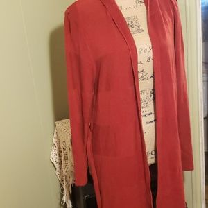 Pretty red hooded open front sweater size 1x